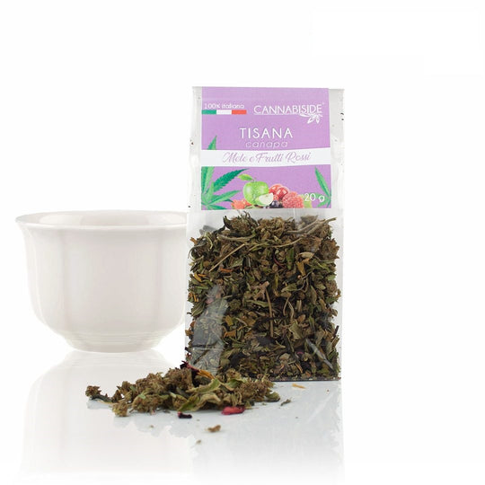 Tisane CBD - Tisane relaxante au chanvre, pommes et fruits rouges - Comestibles CBD Cannabiside