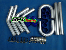 "Load image into Gallery viewer, 64MM UNIVERSAL 2.5"" ALUMINUM TURBO INTERCOOLER PIPING+ELBOW+COUPLER KIT"