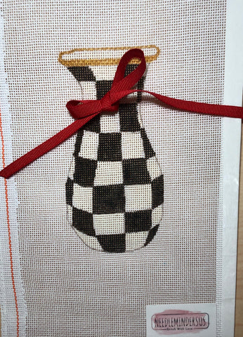 Checkered Vase With Ribbon