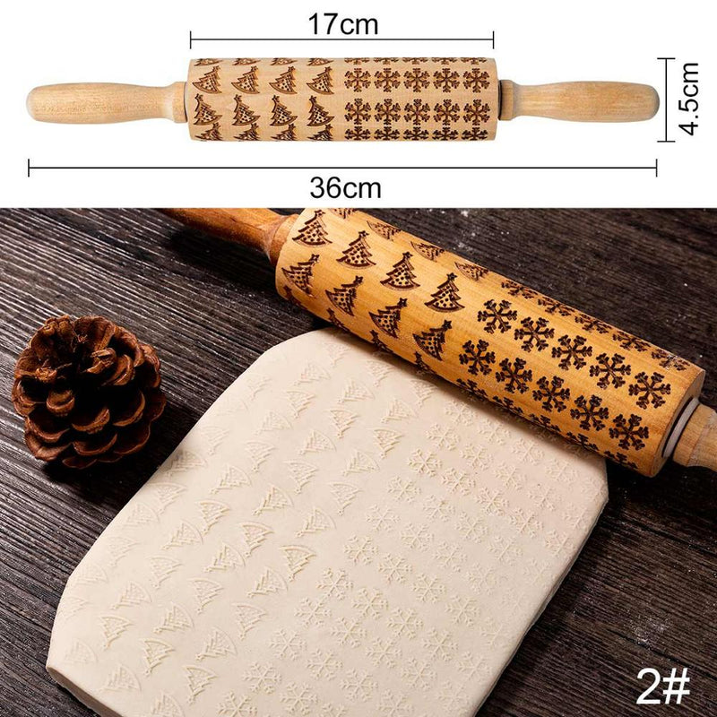 Embossed Rolling Pins - 100003050 - Christmas Special - Trees & Snowflakes - Arezel.com