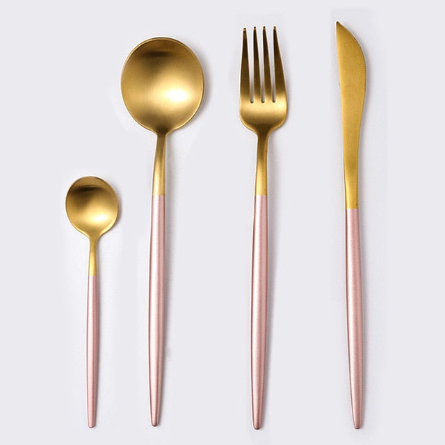 Stainless Steel Cutlery Set - Dinnerware Sets - Pink Gold - Arezel.com