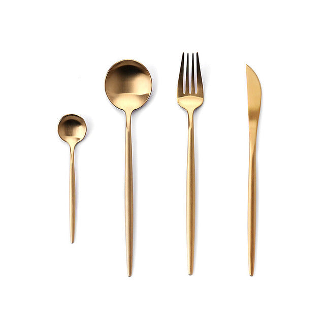Stainless Steel Cutlery Set - Dinnerware Sets - Gold - Arezel.com