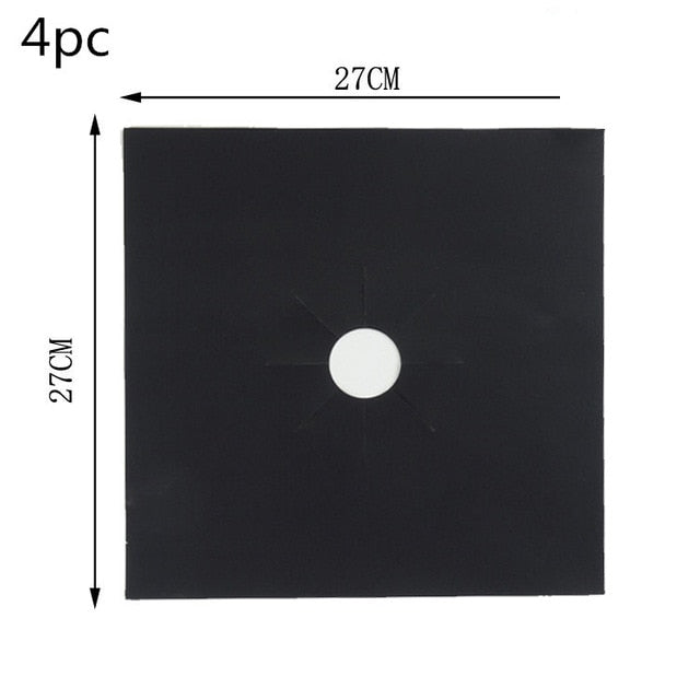 Gas Stove Protection Mat Set - Cookware Parts - 4pcs black - Arezel.com
