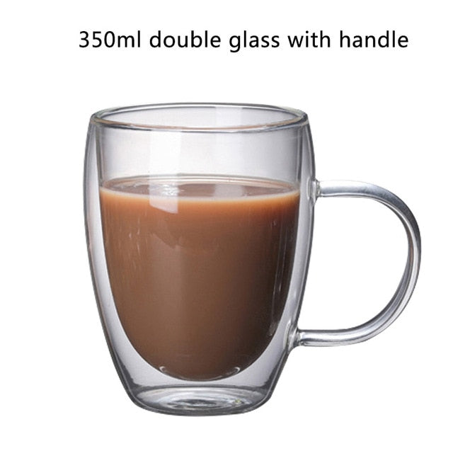 Double Layered Cups - Milk Mugs - Coffee glass 350 ml - Arezel.com