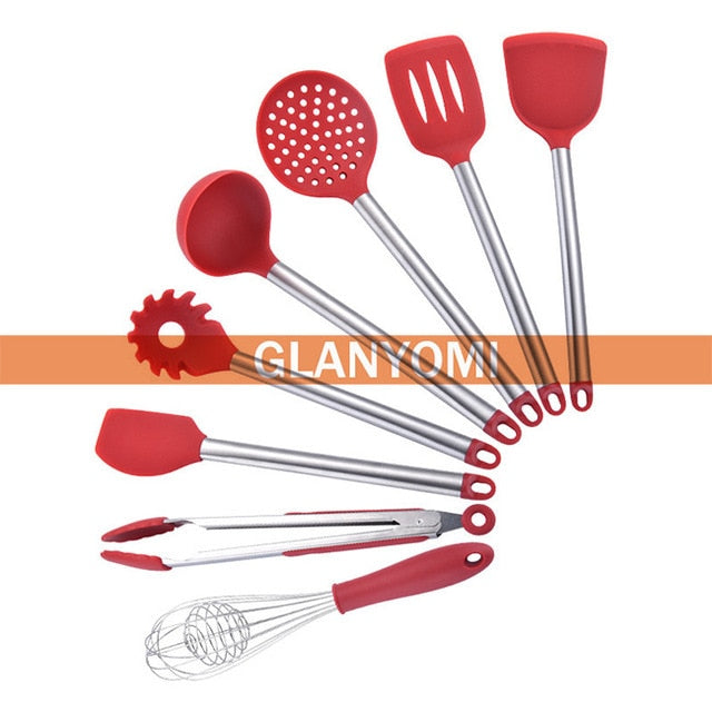Set Of 9 Cooking Untensil - Cooking Tool Sets - Red 8pcs - Arezel.com