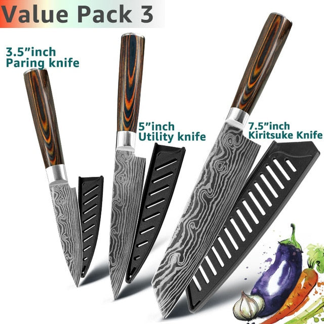 Eco-Friendly Kitchen knife - Chef Knives - 7.5 5 3 Value pack 3 - Arezel.com