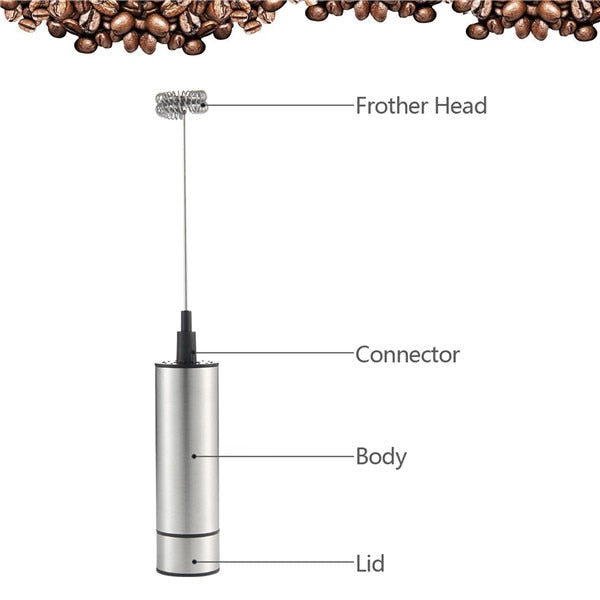 Electric Handheld Coffee Mixer - Portable Mixer - Double Spring - Arezel.com