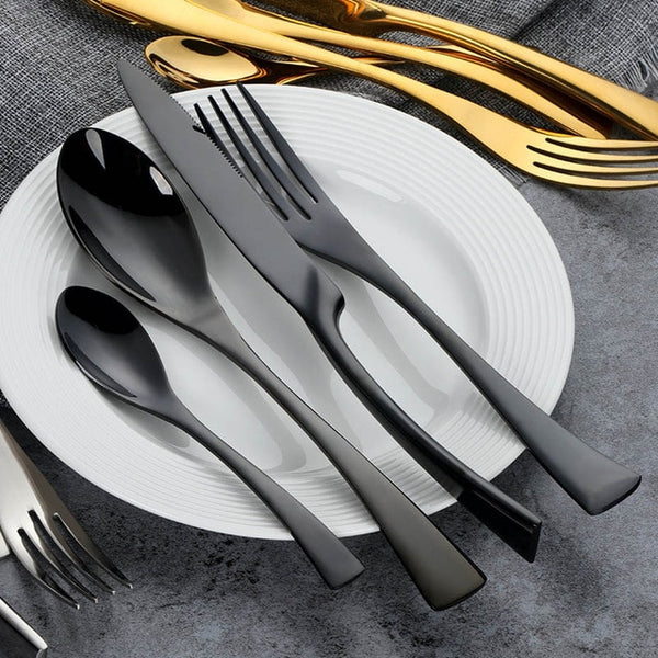 FRANCE SET - Flatware - 4 sets(16 pcs) / Black - Arezel.com