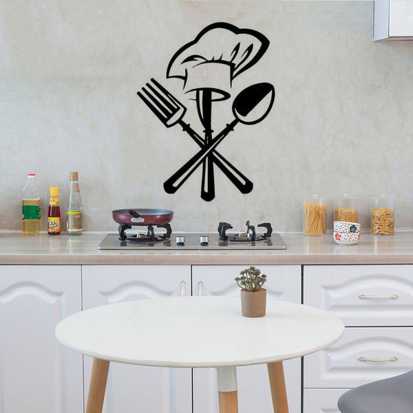 knife fork chef hat Wall Sticker - Wall Sticker -  - Arezel.com