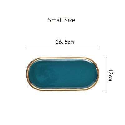 Ceramic Marble Storage Tray - Plate - GreenGold S - Arezel.com