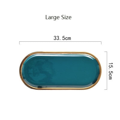 Ceramic Marble Storage Tray - Plate - GreenGold L - Arezel.com