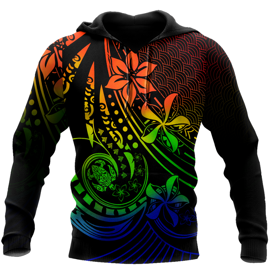 Amazing Polynesian Tattoo And Frangipani Flower Unisex Deluxe Hoodie ML