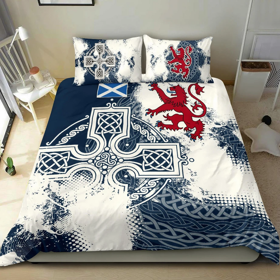 Premium 3D Printed Celtic Cross Scotish Rugby Union Bedding Set MEI