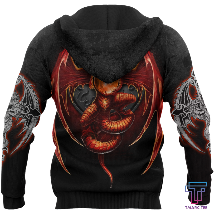 3D Armor Tattoo and Dungeon Dragon Hoodie HAC140102 - Amaze Style™-Apparel