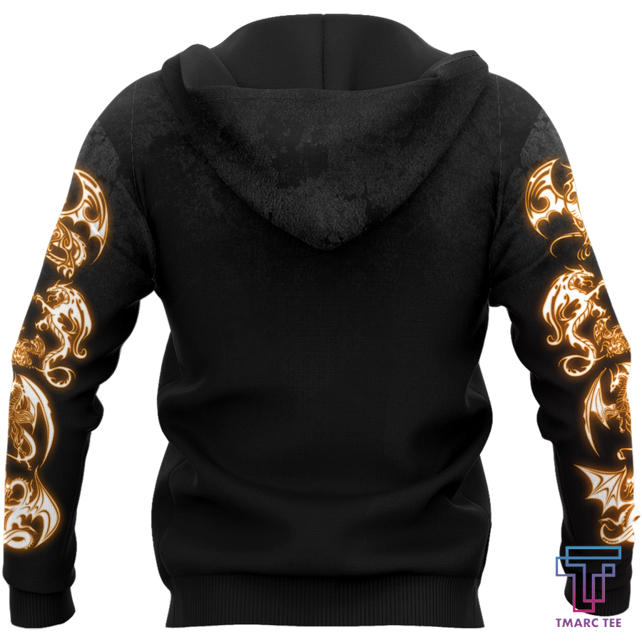 3D Armor Tattoo and Dungeon Dragon Hoodie HAC130101 - Amaze Style™-Apparel