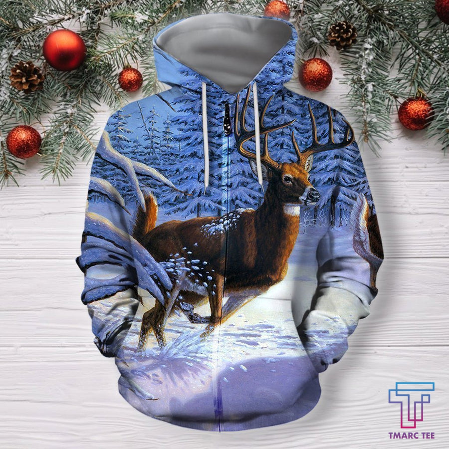 3D All Over Print Deer Running Art Shirts - Amaze Style™-Apparel