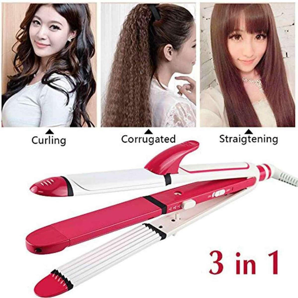 Kemei 3 In 1 Professional Cum Curler And Crimper Hair Straightener - KM-1291 most trending product and loved by women