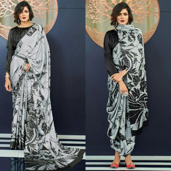 Sarees for women,Japan satin dark grey saree