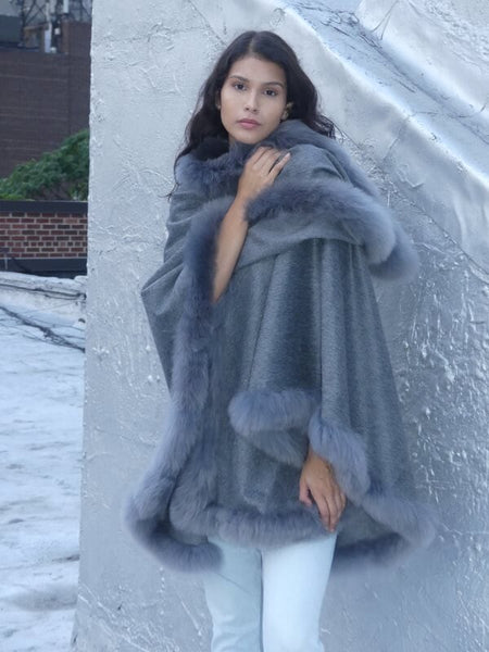 Full Length Baby Alpaca Cape - Pearl Grey