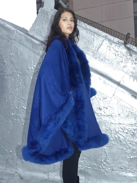 Full Length Baby Alpaca Cape - Shawl - Royal Blue