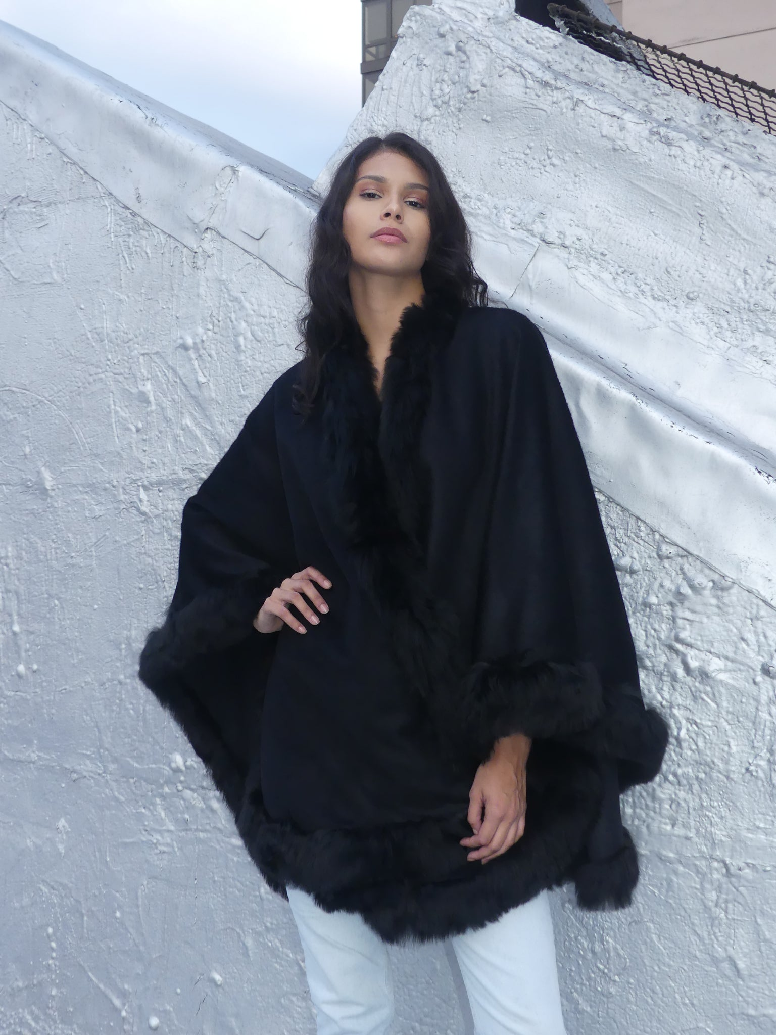 Full Length Alpaca Cape - Shawl - Black