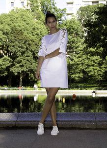 Dress - Pima Cotton Trapize White