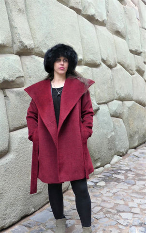 Suri Alpaca Coat - Red                     (Non-Reversible)