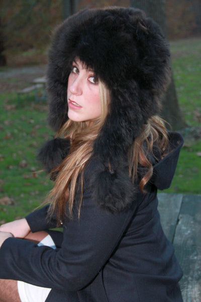 Alpaca Aviator Hat - Black