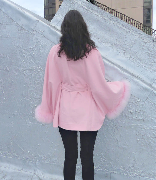 Mid Length Baby Alpaca Cape - Shawl - Channel Pink