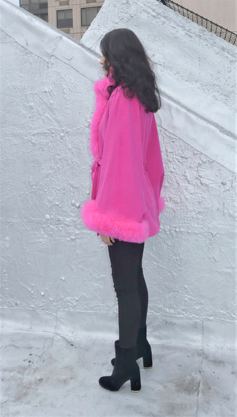 Mid Length Baby Alpaca Cape - Shawl - Hot Pink