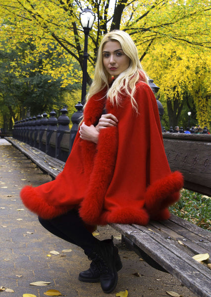 Full Length Alpaca Cape - Shawl - Red