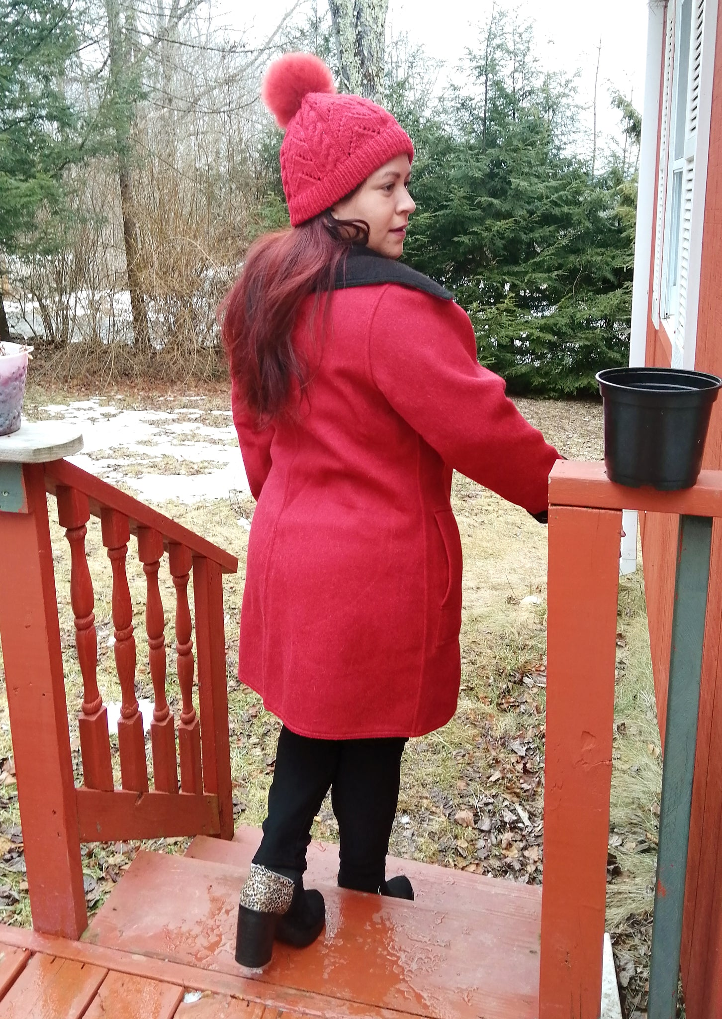 Alpaca Coat - Red / Black (Reversible) with Belt