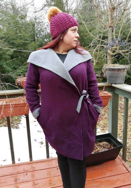 Alpaca Coat - Plum / Silver (Reversible) with Belt