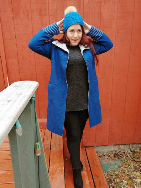 Alpaca Coat - Blue / Silver Gray (Reversible)