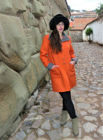 Alpaca Coat:  Rust - Pearl Grey (Reversible)