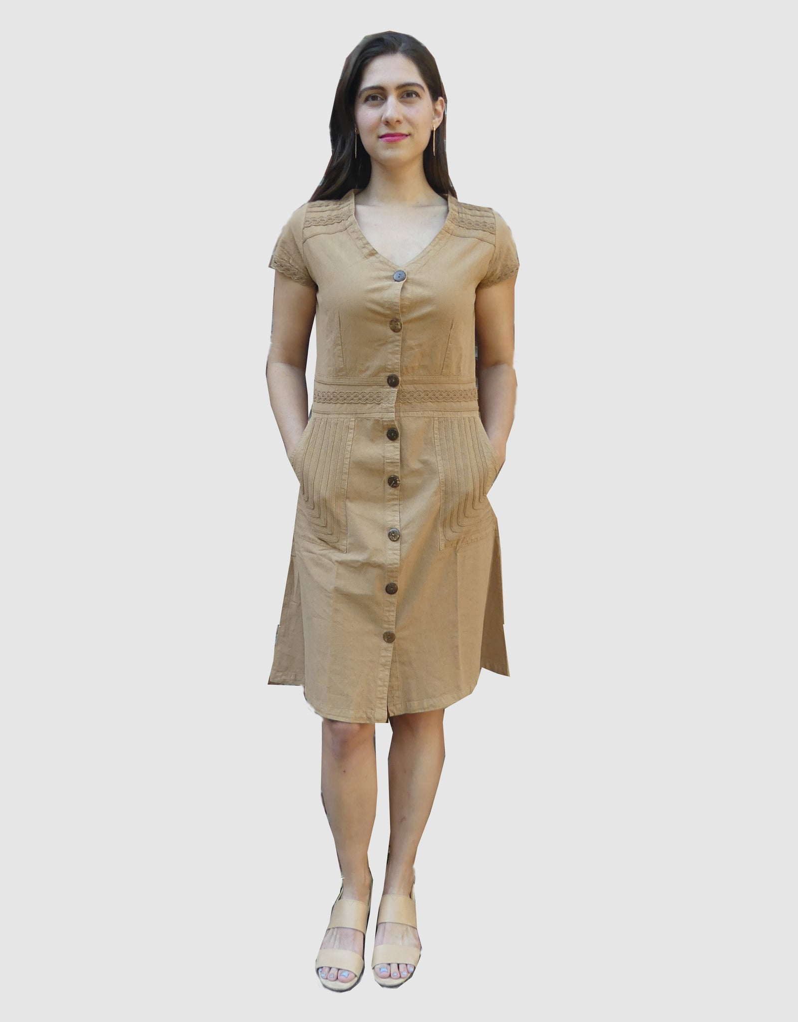 Designer Summer cotton dress- Megan Camel
