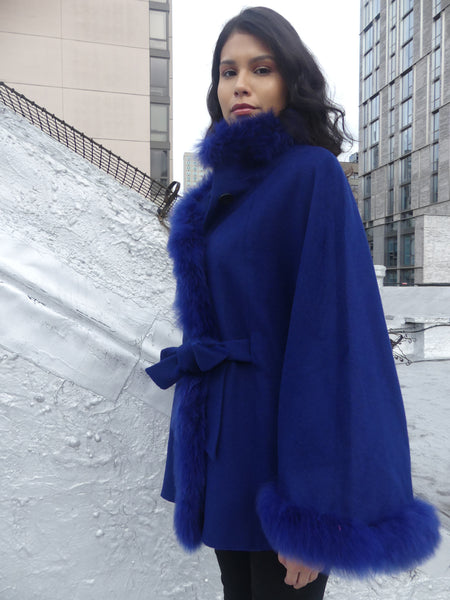Mid Length Baby Alpaca Cape - Shawl - Royal Blue