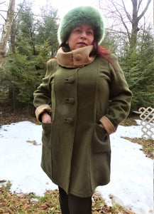 Alpaca Coat -Forest Green/Beige (Reversible)