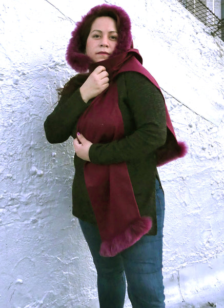 Premium Alpaca Hood with Scarf Attached-Dark Fuchsia