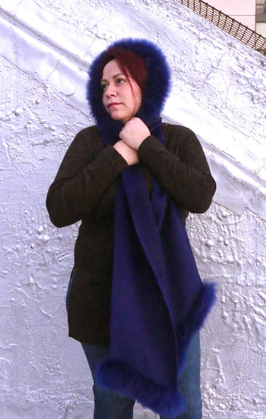 Premium Alpaca Hood with Scarf Attached-Royal Blue
