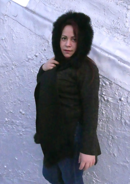 Premium Alpaca Hood with Scarf Attached-Black