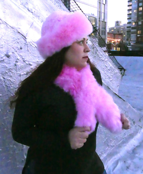 Alpaca Russian Hat & Stole - Cotton Candy Pink