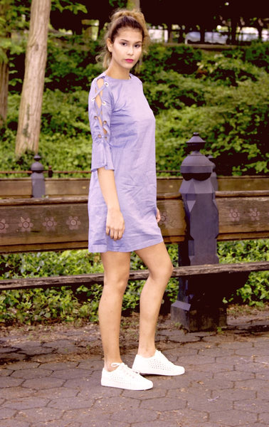 Dress - Pima Cotton Trapize Gray-Blue dots