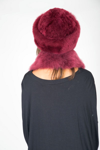 Alpaca Russian Hat & Stole - red