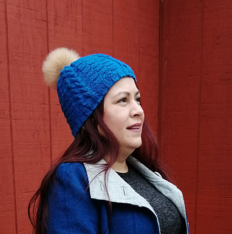 Alpaca Pom Pom Hat - Royal Blue