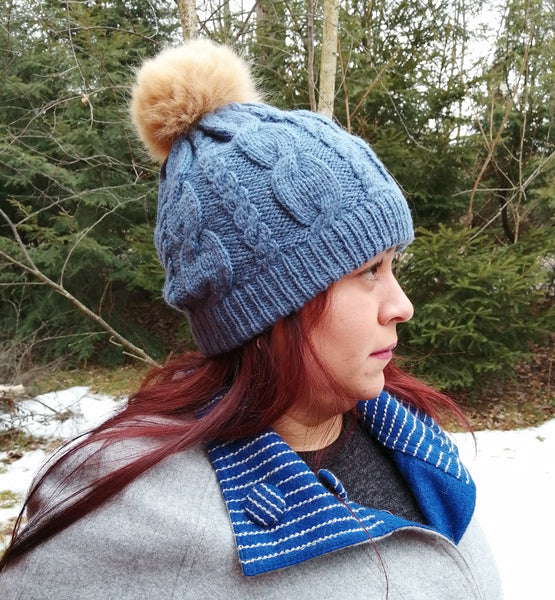 Alpaca Pom Pom Hat - Blue Gray