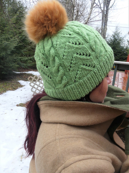 Alpaca Pom Pom Hat - Lime Green