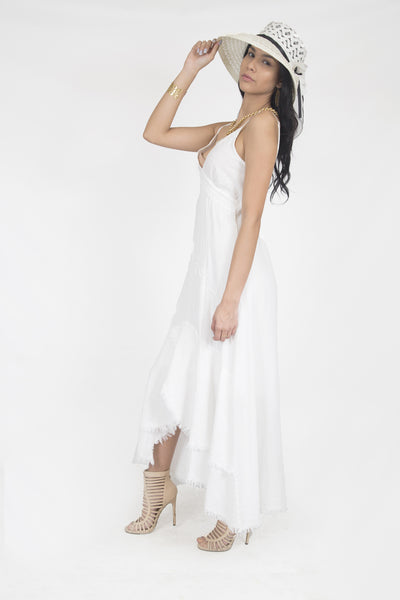 Designer Summer cotton dress- Natali White