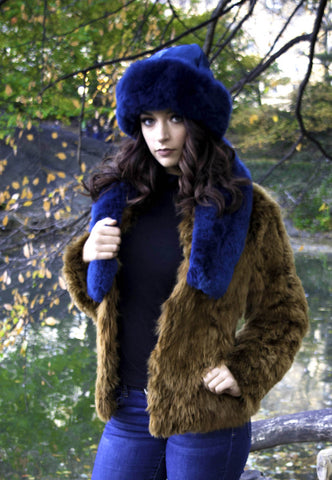 Alpaca Russian Hat & Stole - Royal Blue