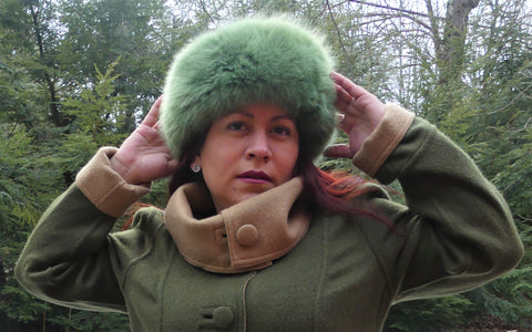 Alpaca Russian Hat - Lime Green
